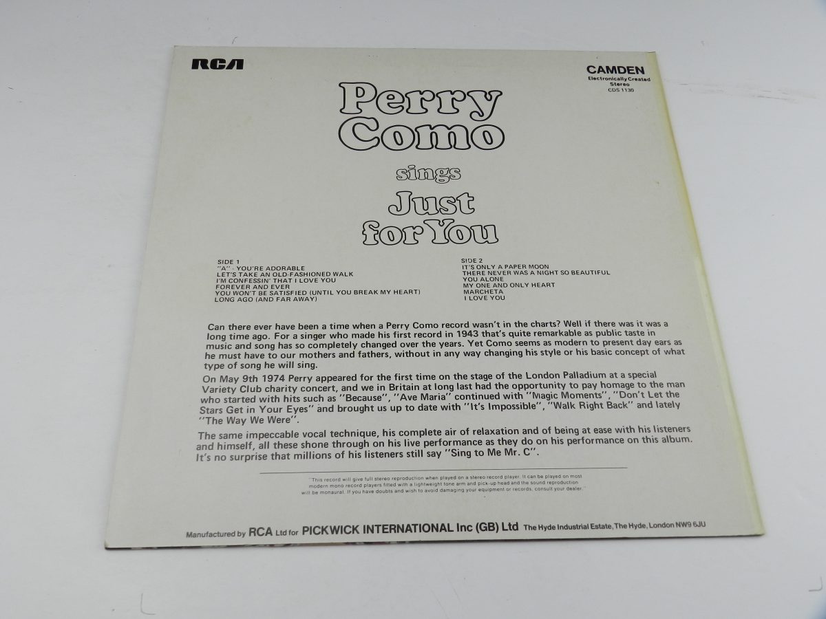 Perry Como – Perry Como Sings Just For You vinyl record sleeve rear scaled
