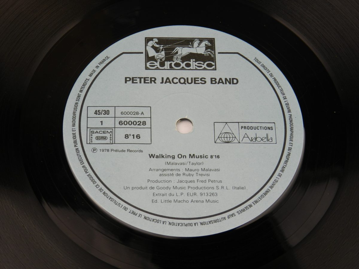 Peter Jacques Band – Walking On Music vinyl record side A label scaled