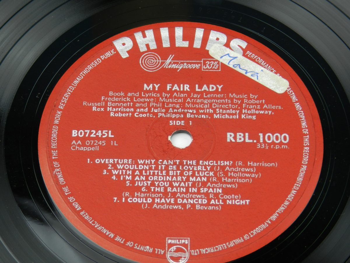 Rex Harrison Julie Andrews – My Fair Lady vinyl record side A label scaled