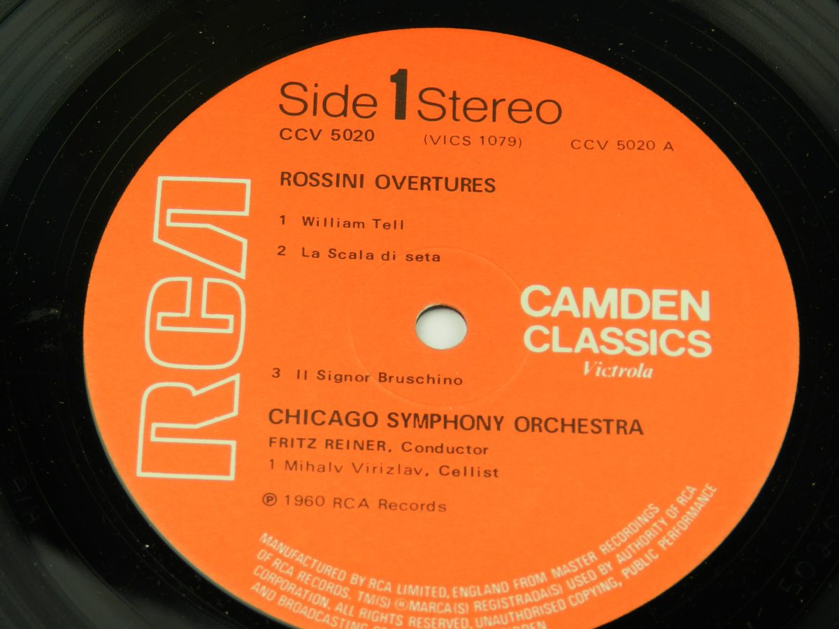Rossini Chicago Symphony Orchestra Fritz Reiner – Rossini Overtures vinyl record side A label scaled