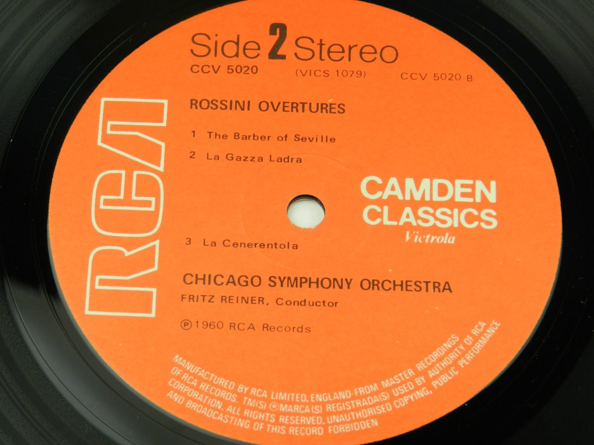 Rossini Chicago Symphony Orchestra Fritz Reiner – Rossini Overtures vinyl record side B label scaled