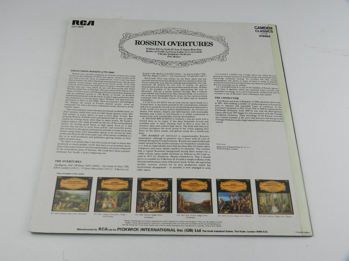 Rossini Chicago Symphony Orchestra Fritz Reiner – Rossini Overtures vinyl record sleeve rear scaled