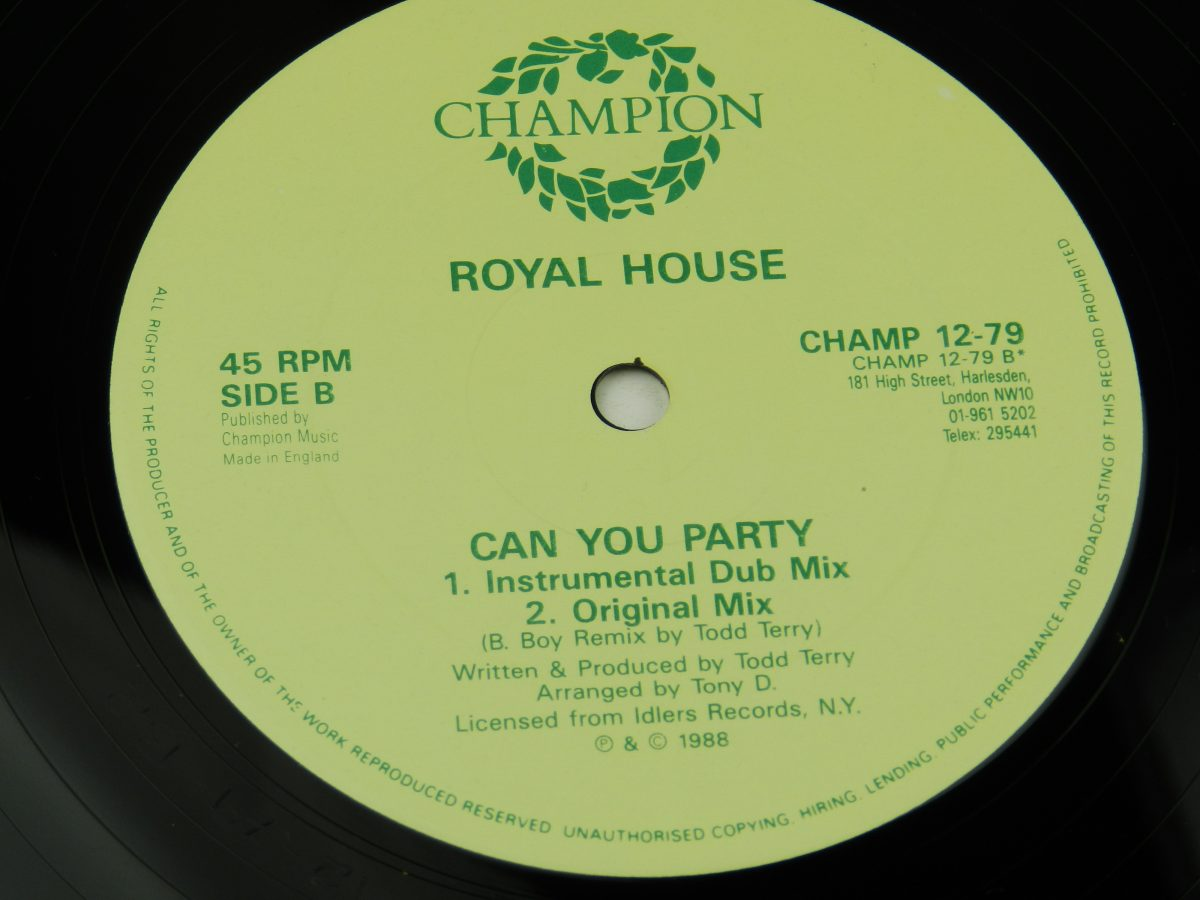 Royal House – Can You Party B Boy Remix vinyl record side B label scaled