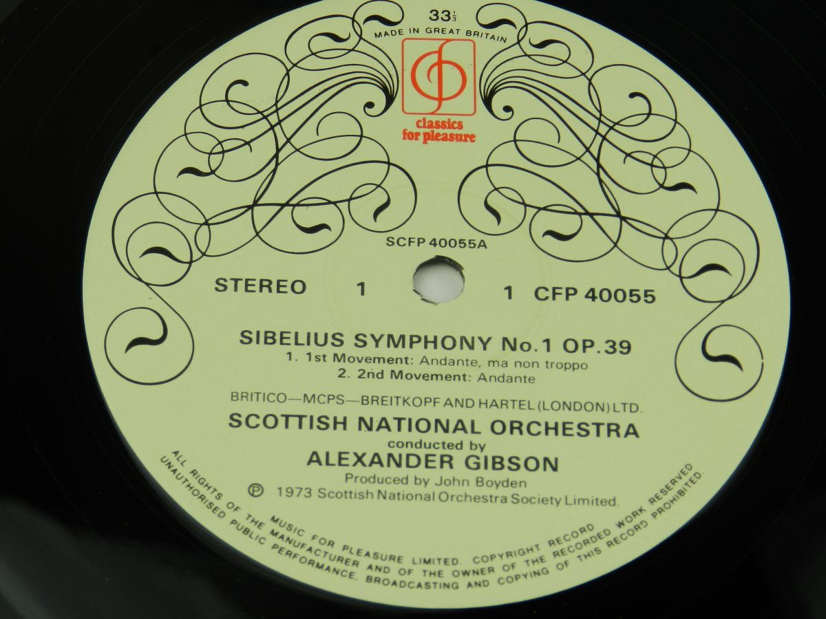 Scottish National Orchestra Conducted By Alexander Gibson – Symphony No.1 In E Minor Op. 39 vinyl record side A label scaled