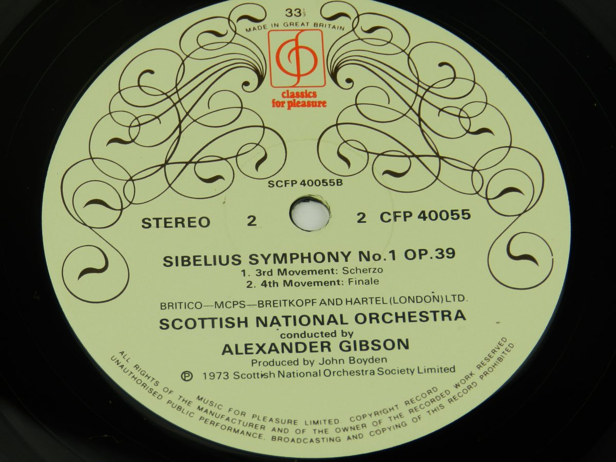 Scottish National Orchestra Conducted By Alexander Gibson – Symphony No.1 In E Minor Op. 39 vinyl record side B label scaled