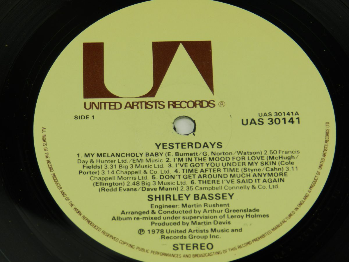 Shirley Bassey – Yesterdays vinyl record side A label scaled