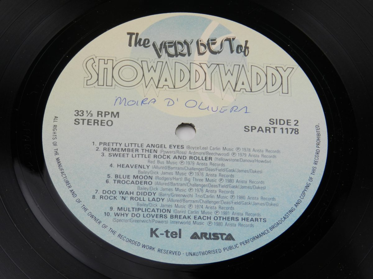 Showaddywaddy – The Very Best Of Showaddywaddy vinyl record side B label scaled