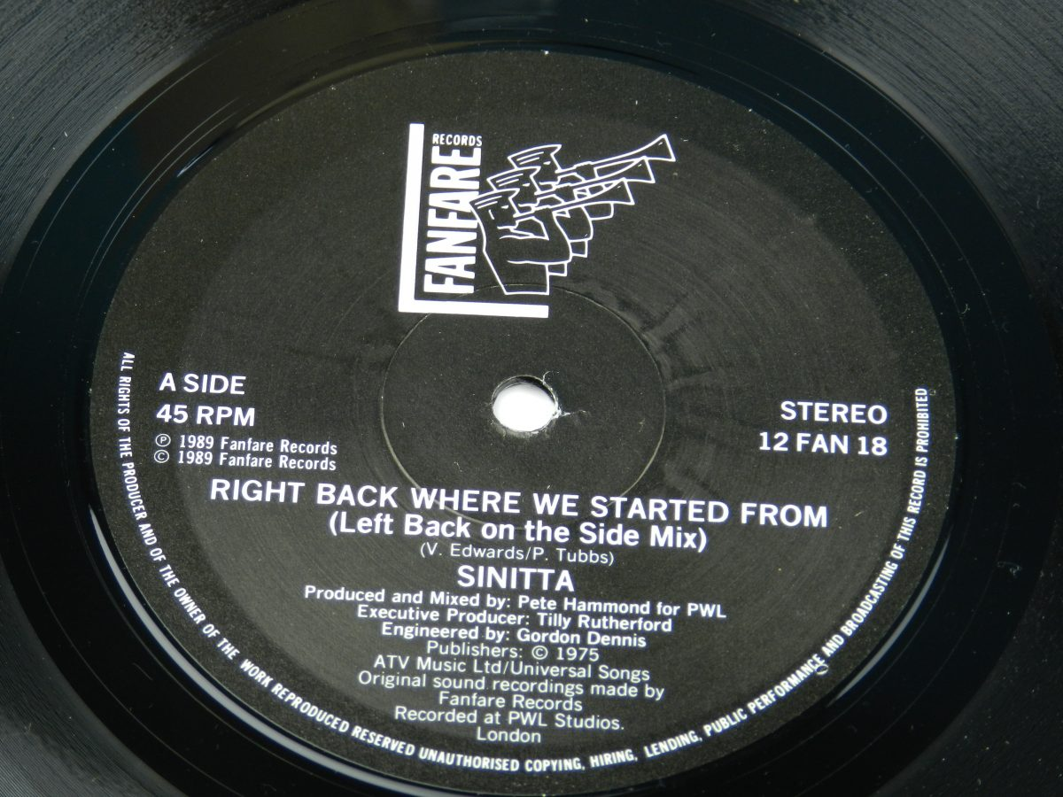 Sinitta – Right Back Where We Started From Left Back On The Side Mix vinyl record side A label scaled