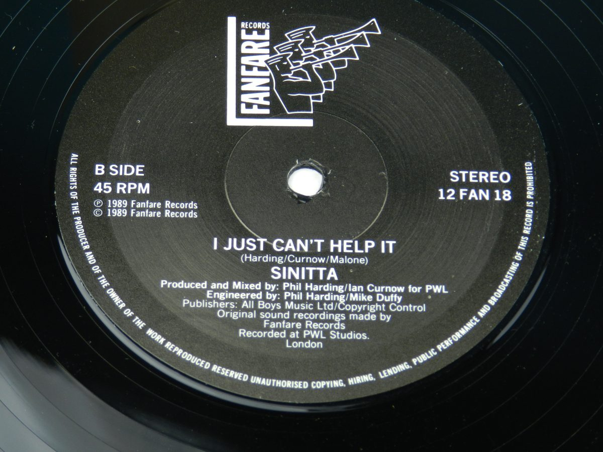 Sinitta – Right Back Where We Started From Left Back On The Side Mix vinyl record side B label scaled