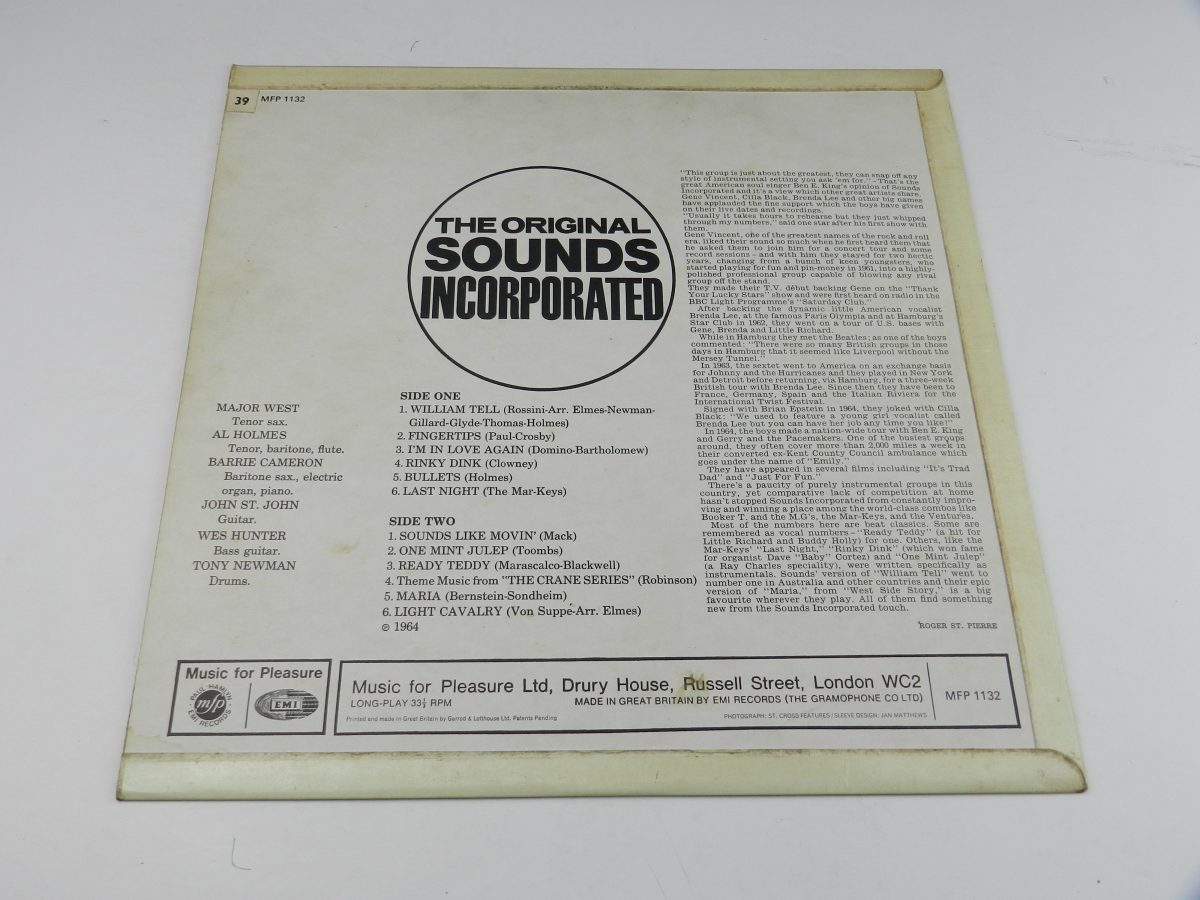Sounds Incorporated – Sounds Incorporated vinyl record sleeve rear scaled