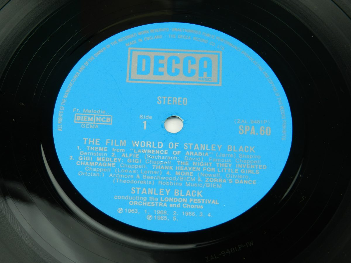 Stanley Black Conducting The London Festival Orchestra And Chorus – The Film World Of Stanley Black vinyl record side A label scaled