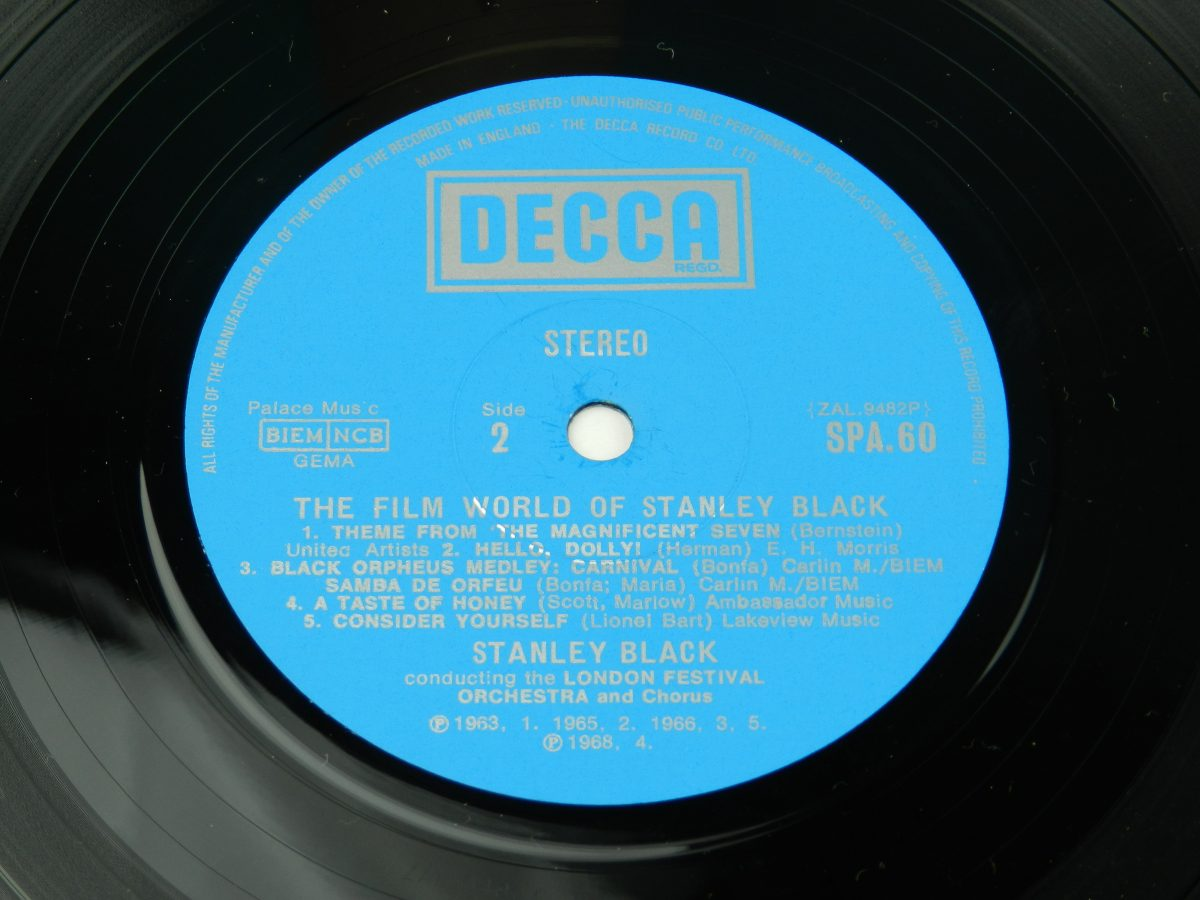 Stanley Black Conducting The London Festival Orchestra And Chorus – The Film World Of Stanley Black vinyl record side B label scaled