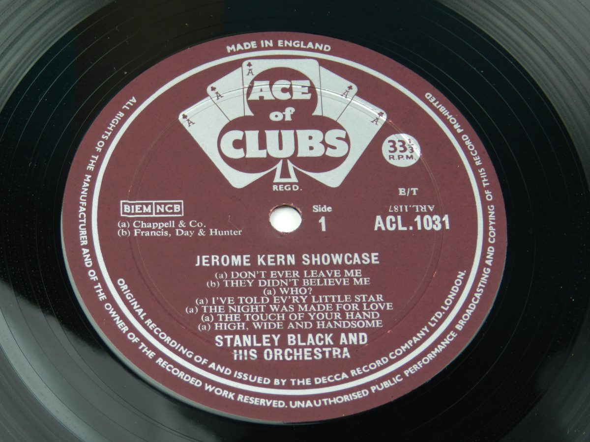 Stanley Black Stanley Black His Orchestra – Jerome Kern Showcase vinyl record side A label scaled