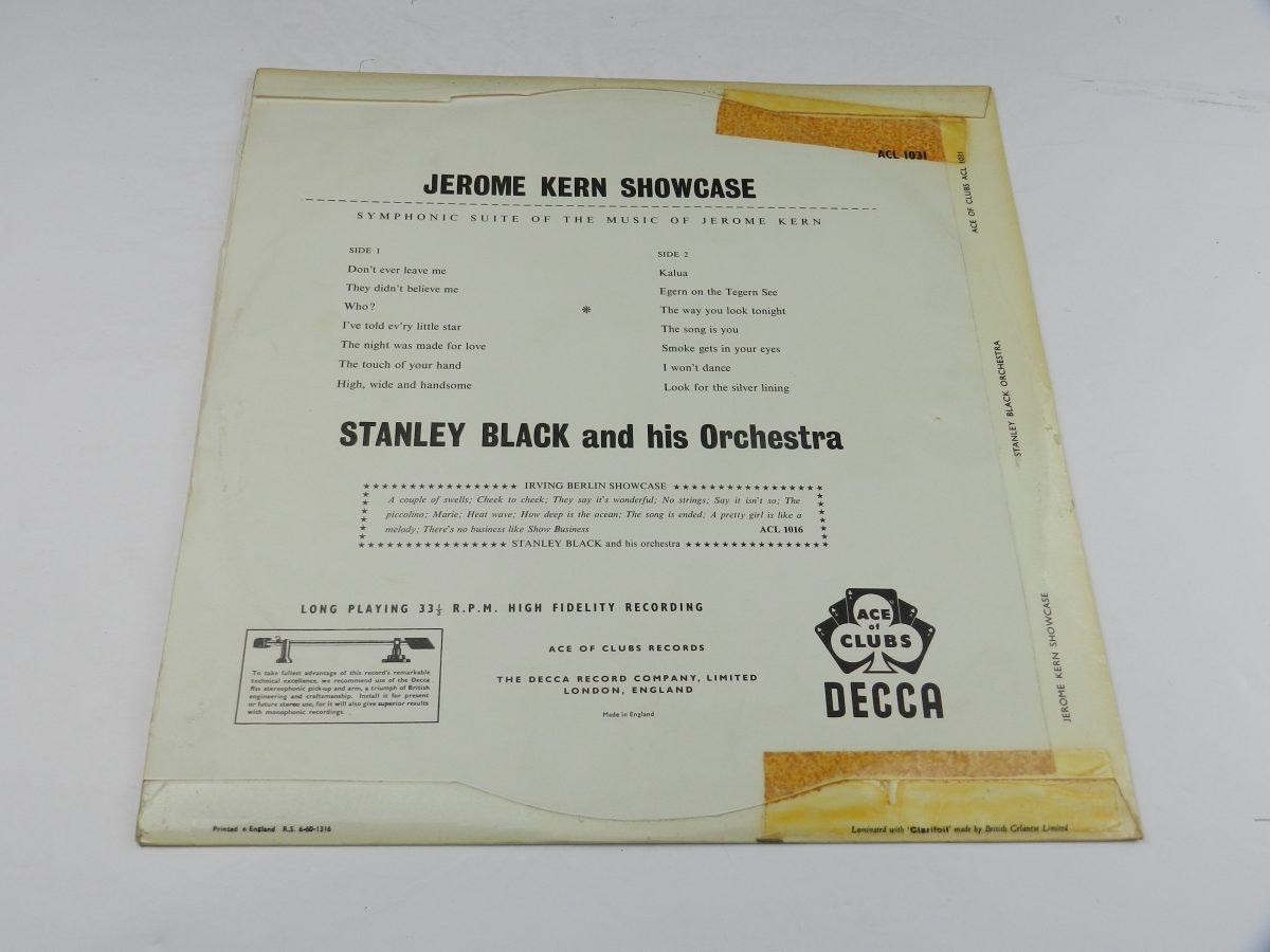 Stanley Black Stanley Black His Orchestra – Jerome Kern Showcase vinyl record sleeve rear scaled