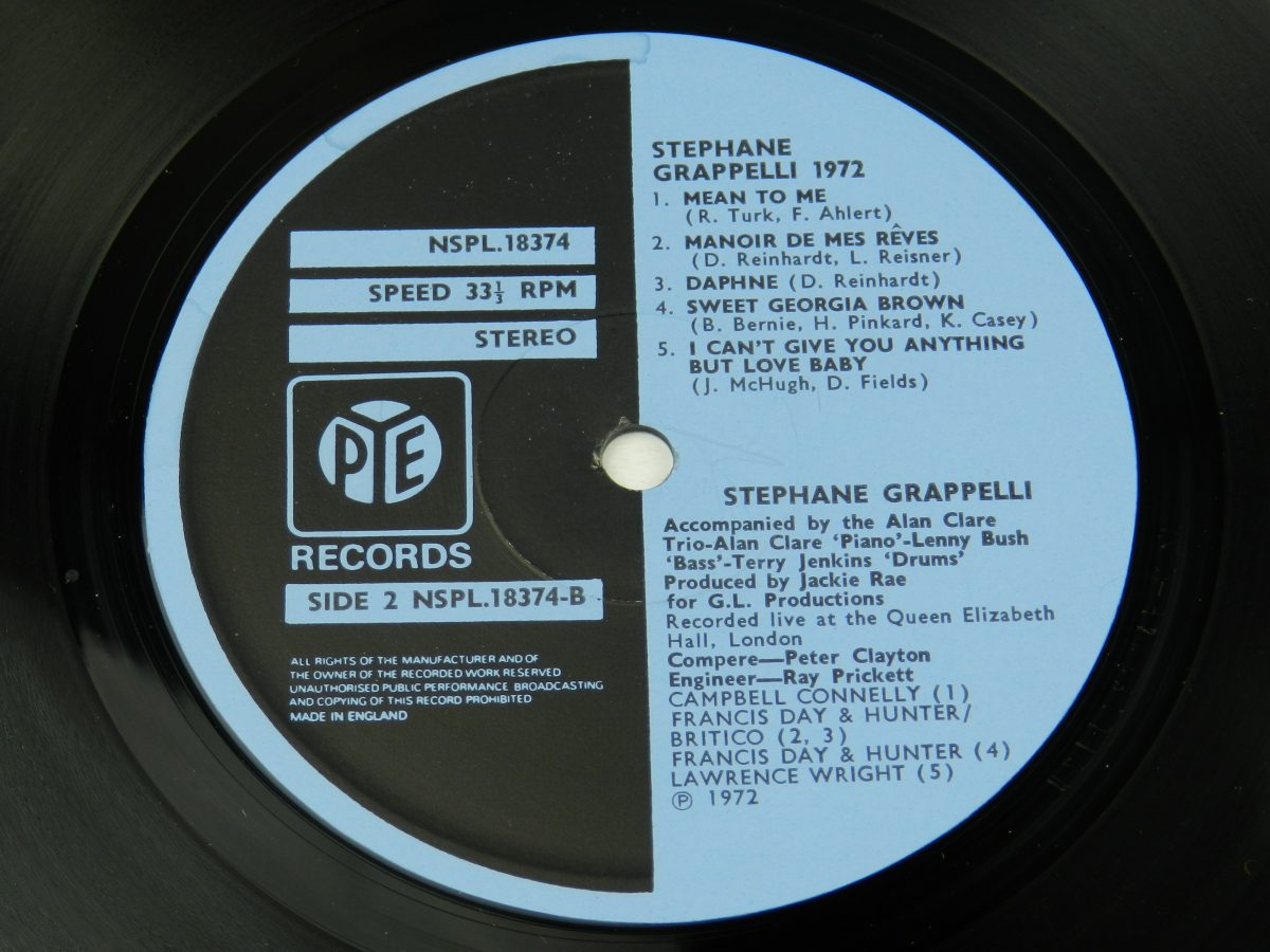Stephane Grappelli – Stephane Grappelli 1972 Recorded Live At The Queen Elizabeth Hall London vinyl record side B label scaled