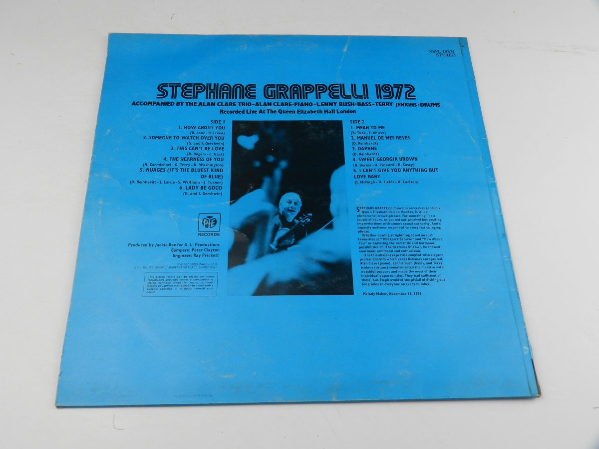 Stephane Grappelli – Stephane Grappelli 1972 Recorded Live At The Queen Elizabeth Hall London vinyl record sleeve rear scaled