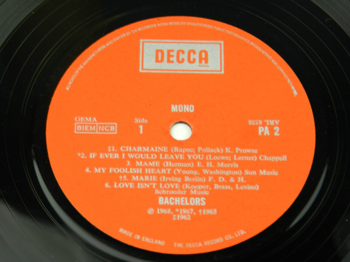 The Bachelors – The World Of The Bachelors vinyl record side A label scaled