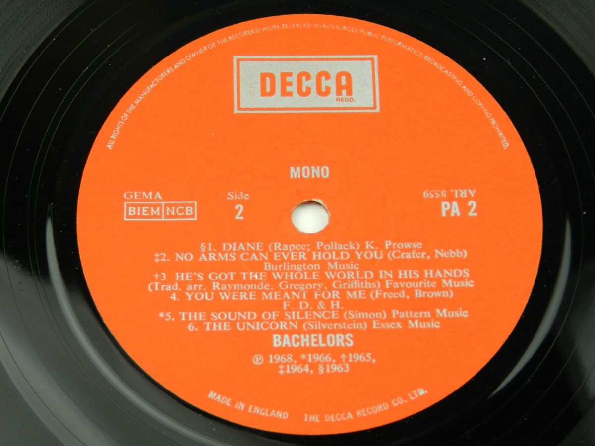 The Bachelors – The World Of The Bachelors vinyl record side B label scaled