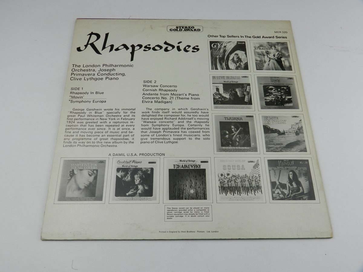 The London Philharmonic Orchestra – Rhapsodies vinyl record sleeve rear scaled