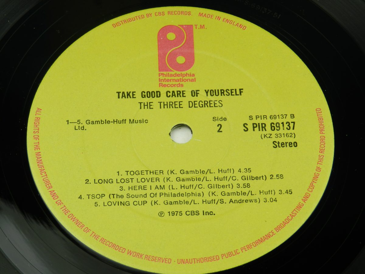 The Three Degrees – Take Good Care Of Yourself vinyl record side B label scaled