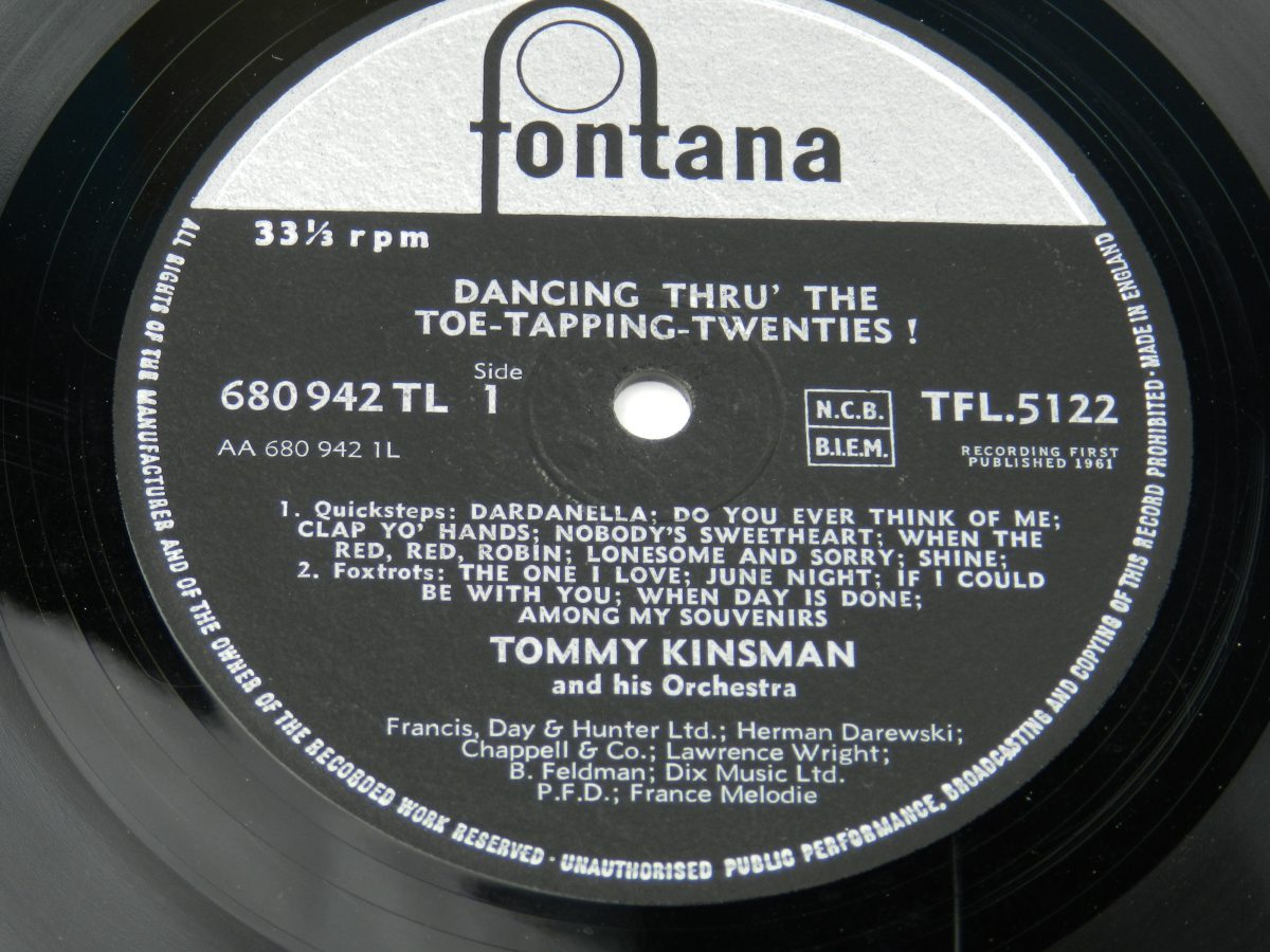 Tommy Kinsman And His Orchestra – Dancing Thru The Toe Tapping Twenties vinyl record side A label scaled