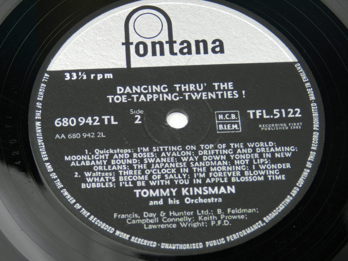 Tommy Kinsman And His Orchestra – Dancing Thru The Toe Tapping Twenties vinyl record side B label scaled