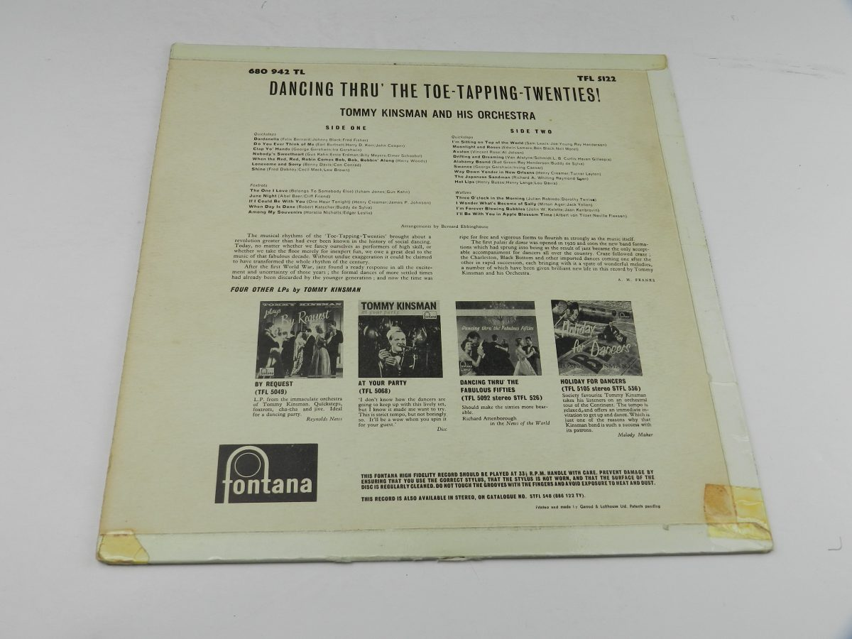 Tommy Kinsman And His Orchestra – Dancing Thru The Toe Tapping Twenties vinyl record sleeve rear scaled