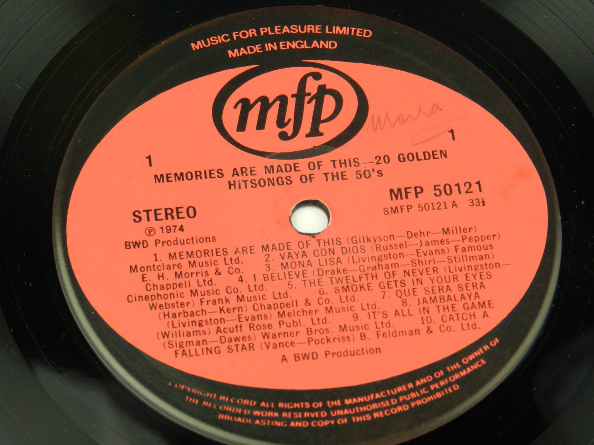 Unknown Artist – Memories Are Made Of This 20 Golden Hits Of The 50s vinyl record side A label scaled
