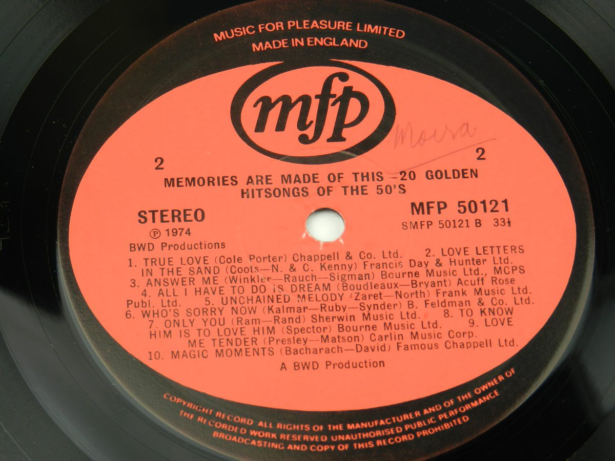 Unknown Artist – Memories Are Made Of This 20 Golden Hits Of The 50s vinyl record side B label scaled