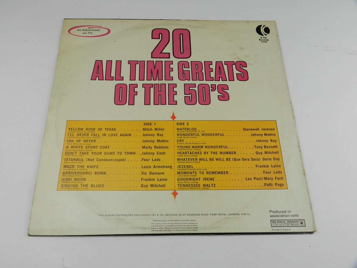 Various – 20 All Time Greats Of The 50s vinyl record sleeve rear scaled