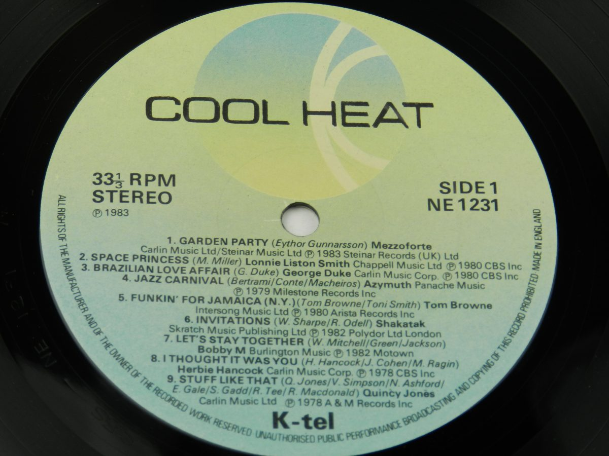 Various – Cool Heat The Hottest • Jazziest • Coolest • Funkiest Hits vinyl record side A label scaled