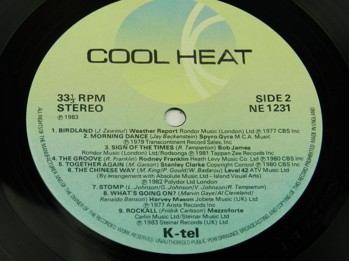 Various – Cool Heat The Hottest • Jazziest • Coolest • Funkiest Hits vinyl record side B label scaled
