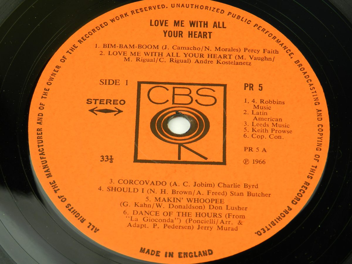 Various – Love Me With All Of Your Heart vinyl record side A label scaled