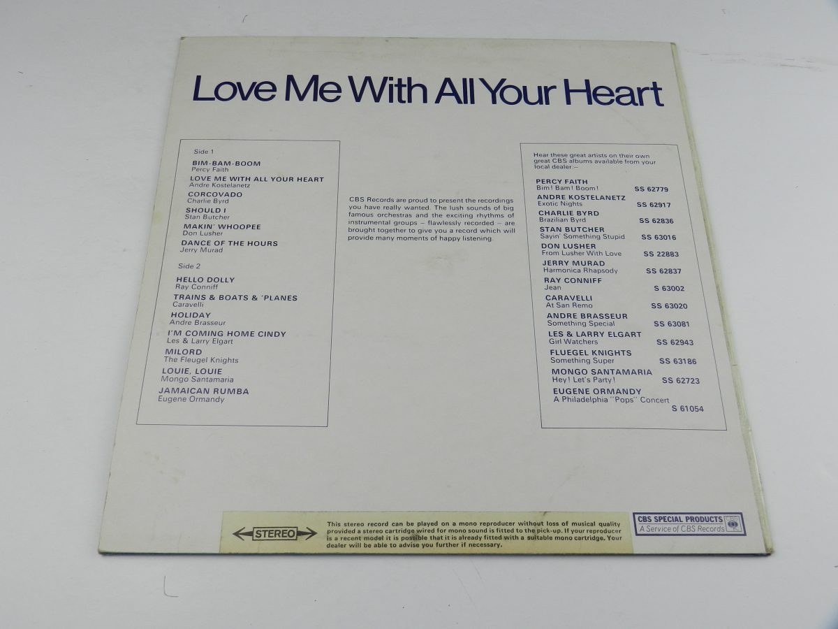 Various – Love Me With All Of Your Heart vinyl record sleeve rear scaled