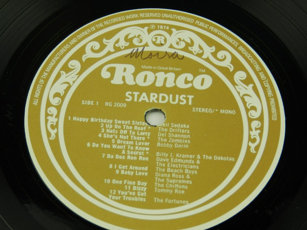 Various – Stardust 44 Original Hits From The Sound Track Of The Film vinyl record 1 side A label scaled