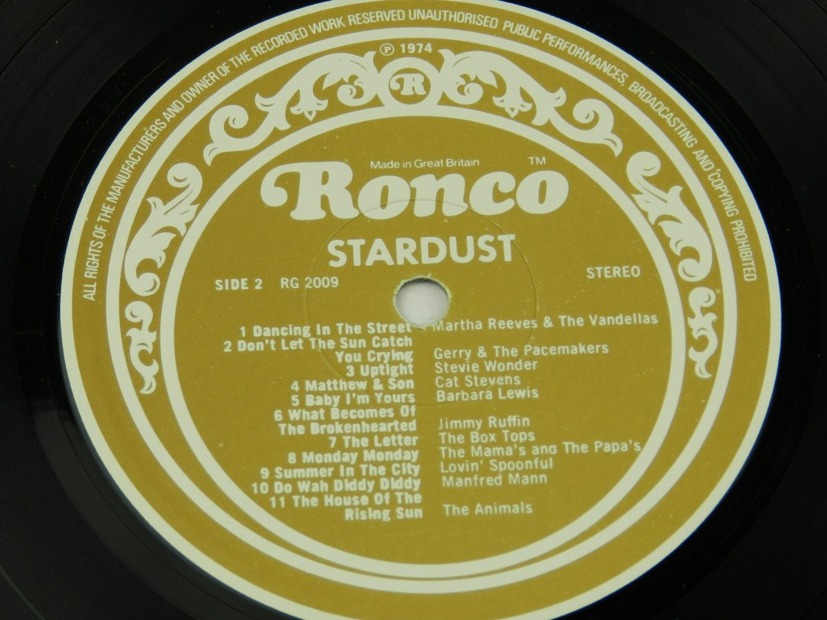 Various – Stardust 44 Original Hits From The Sound Track Of The Film vinyl record 1 side B label scaled