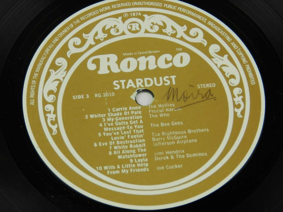 Various – Stardust 44 Original Hits From The Sound Track Of The Film vinyl record 2 side A label scaled