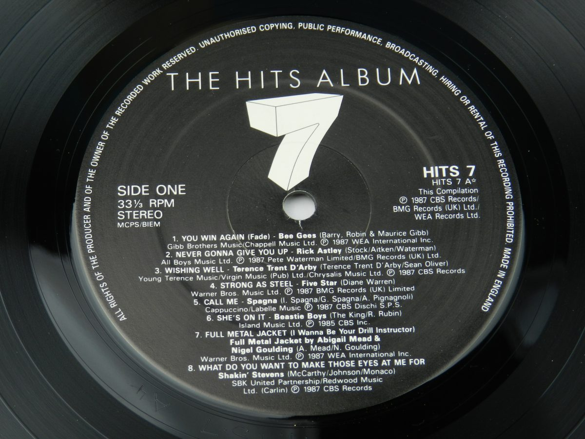 Various – The Hits Album 7 vinyl record 1 side A label scaled