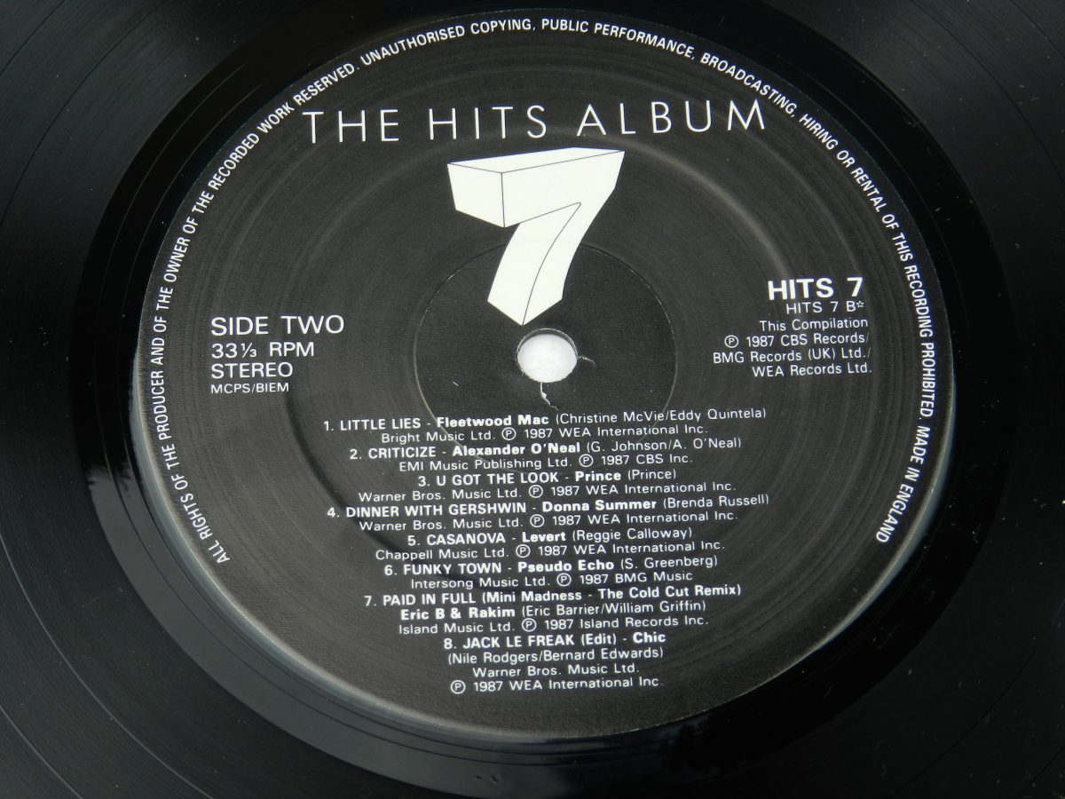 Various – The Hits Album 7 vinyl record 1 side B label scaled