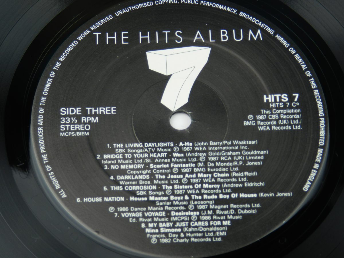 Various – The Hits Album 7 vinyl record 2 side A label scaled