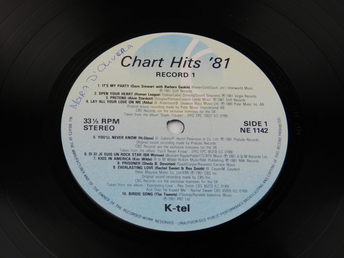 Various – Chart Hits 81 Volume 1 vinyl record side A label scaled