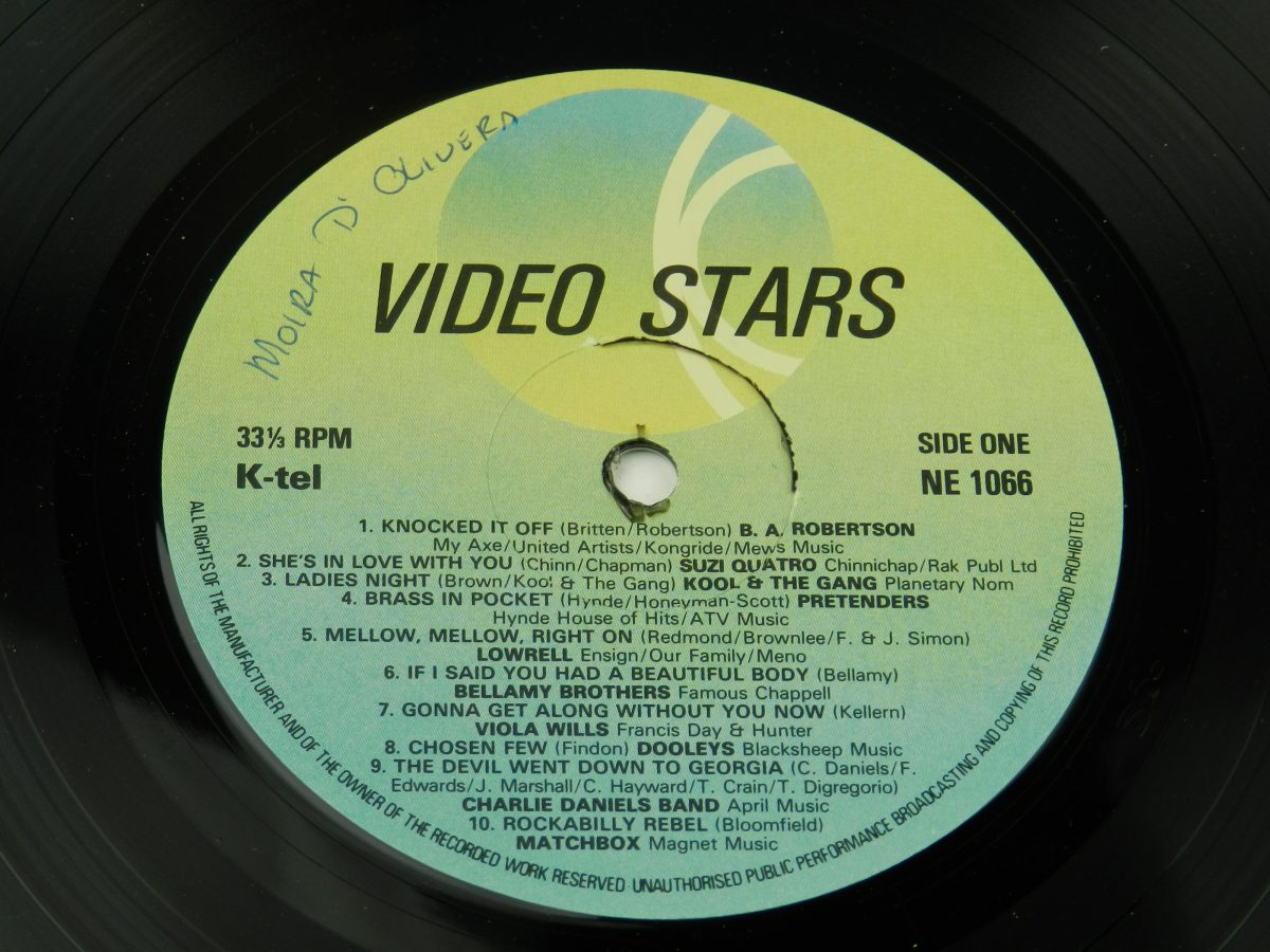 Various – Video Stars vinyl record side A label scaled