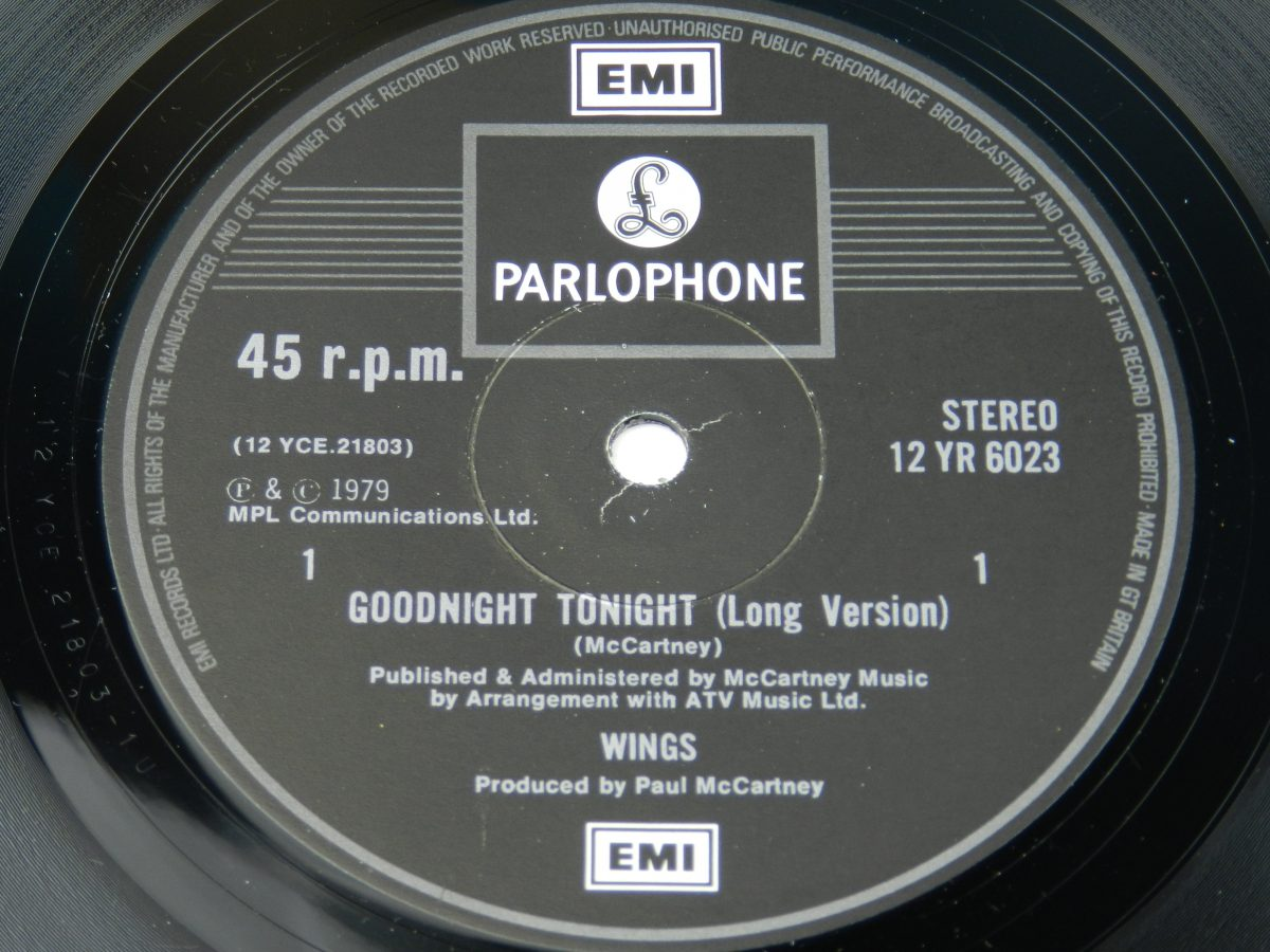 Wings – Goodnight Tonight vinyl record side A label scaled