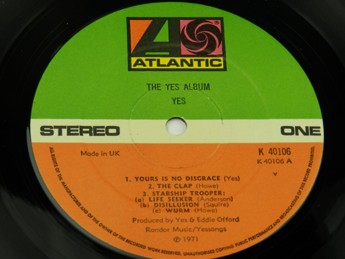 Yes – The Yes Album vinyl record side A label scaled
