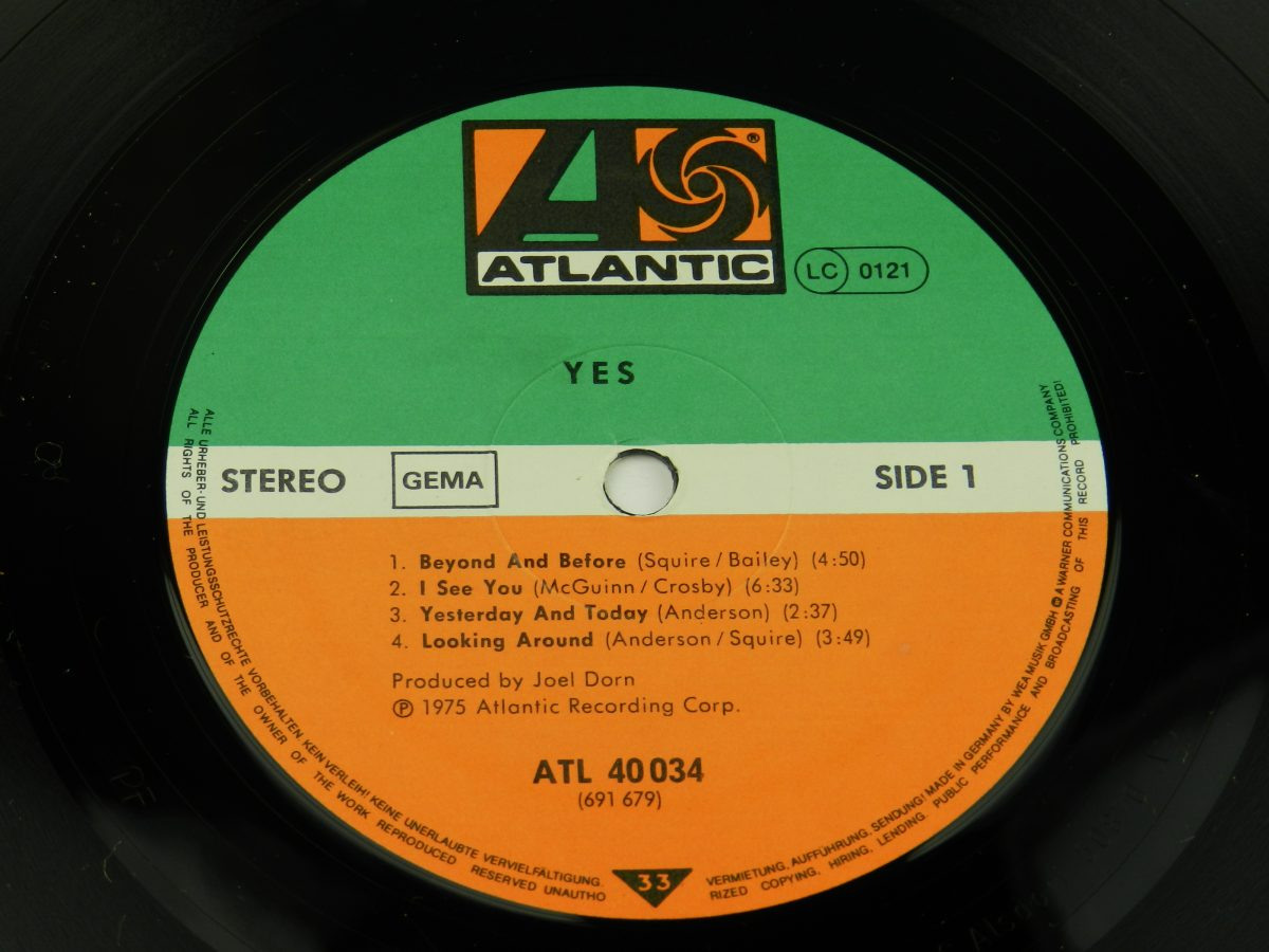 Yes – Yes vinyl record side A label scaled