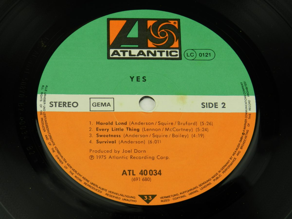 Yes – Yes vinyl record side B label scaled