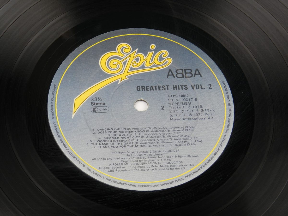ABBA – Greatest Hits Vol. 2 vinyl record side B label scaled