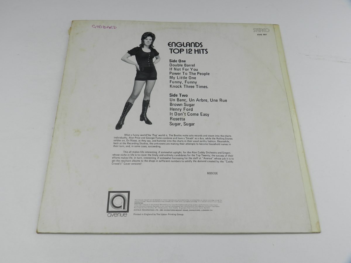 Alan Caddy Orchestra Singers – Englands Top 12 Hits vinyl record sleeve rear scaled