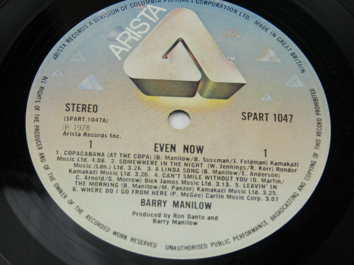Barry Manilow – Even Now vinyl record side A label scaled