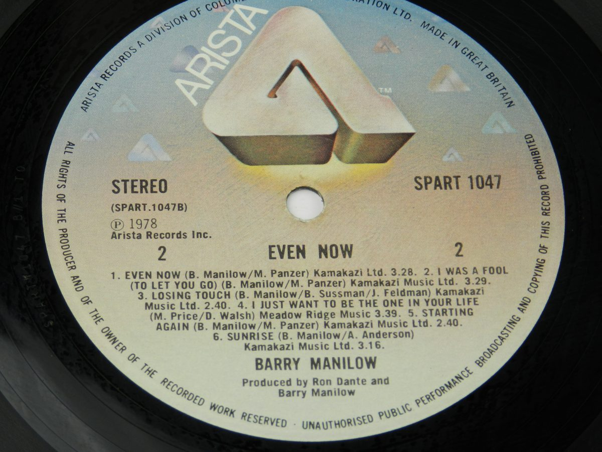 Barry Manilow – Even Now vinyl record side B label scaled